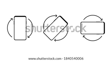 Rotation icon set. Black phone rotation set in modern style on white background. Phone rotation set, great design for any purposes. Modern digital device template. Smartphone screen. EPS 10 Stock fotó ©