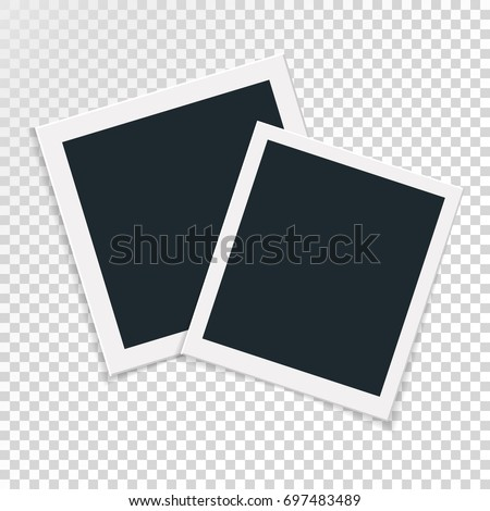 Rotational concept of retro photo frame, double isolated object on transparent background with shadow. Flat design. Vector illustration of an image edge for images and images.