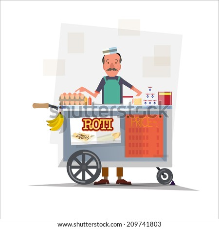 roti seller with cart   vector
