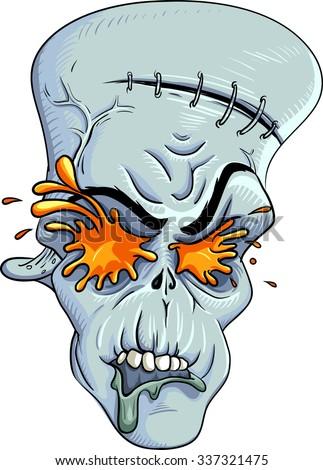rotten zombie skull with burst