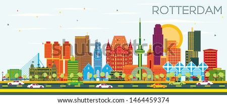 Rotterdam Netherlands City Skyline with Color Buildings and Blue Sky. Business Travel and Tourism Concept with Modern Architecture. Rotterdam Cityscape with Landmarks.