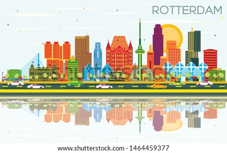 Rotterdam Netherlands City Skyline with Color Buildings, Blue Sky and Reflections. Business Travel and Tourism Concept with Modern Architecture. Rotterdam Cityscape with Landmarks.