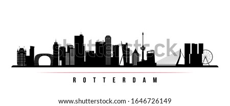 Rotterdam skyline horizontal banner. Black and white silhouette of Rotterdam, Netherlands. Vector template for your design.  Stockfoto ©
