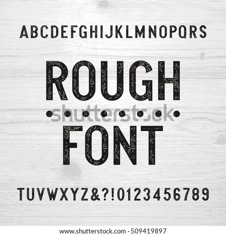 stock-vector-rough-alphabet-font-scratched-type-letters-and-numbers-on-a-wooden-background-retro-stock-vector