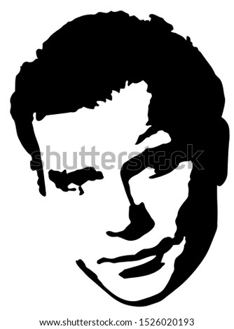 Rough black and white face of a man with rude features Stock photo ©