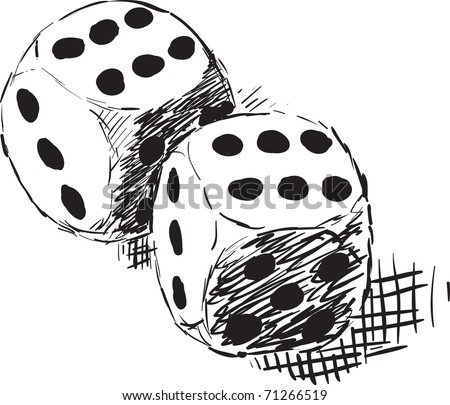 Rough monochrome sketch - two dices on white