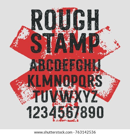 Rough stamp typeface / Grunge textured font. Handmade alphabet. Stamp style uppercase letters and numbers. Plus 3 grunge textures as a bonus