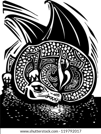 Rough woodcut image of a dragon sleeping on a horde of gold coins.