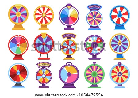Roulette fortune spinning wheels flat icons casino money games - bankrupt or lucky vector elements. Set of fortune, wheel for casino, success game roulette illustration ストックフォト ©