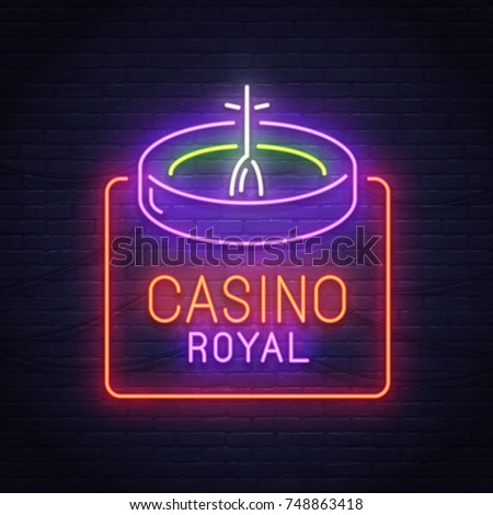 Roulette game neon sign. Neon sign. Casino logo, emblem and label. Bright signboard, light banner.