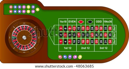 Roulette game table with colorful chips for online casino, vector