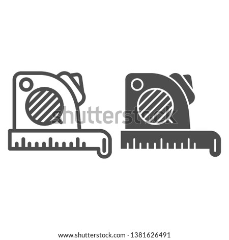Roulette meter line and glyph icon. Measure vector illustration isolated on white. Centimeter tape outline style design, designed for web and app. Eps 10