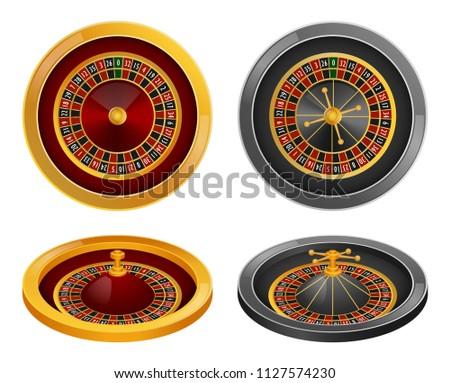Roulette wheel fortune spin game mockup set. Realistic illustration of 4 roulette wheel fortune spin game mockups for web