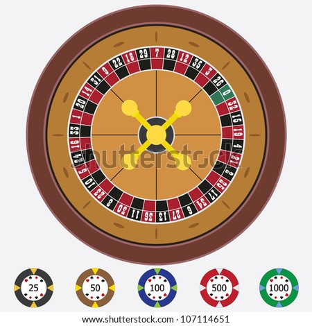 Roulette with chips on the white background.