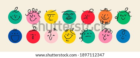 Round abstract comic Faces with various Emotions. Crayon drawing style. Different colorful characters. Cartoon style. Flat design. Hand drawn trendy Vector illustration.