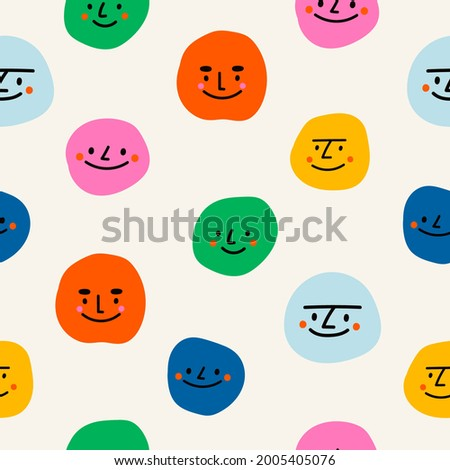 Round abstract comic Faces with various emotions. Kids drawing style. Different colorful characters. Cartoon style. Flat design. Hand drawn trendy Vector illustration. Square seamless pattern