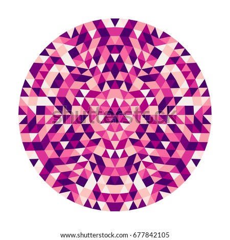 Round abstract geometric triangle kaleidoscopic mandala design symbol - symmetric vector pattern art from colored triangles