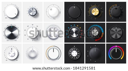 Round adjustment dial. Regulator knob, volume level and analog Min Max dials with realistic shadow and radial metal gradient. 3D Knobs on black and white backgrounds vector set