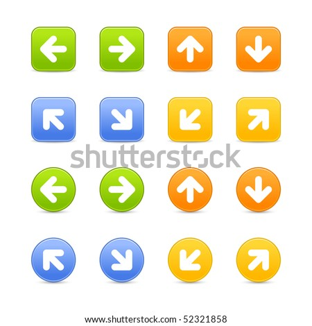 Round and square colored matted web button with arrow symbol on white background