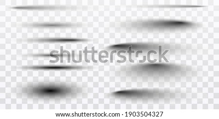 Round and square isolated floor transparent shadows. Dark oval shadow and circle shades vector. PNG. Vector illustration