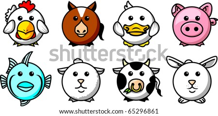 Round animals icons 01