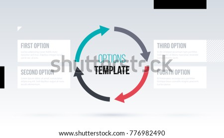Round arrows template with four options on white background in elegant techno style.
