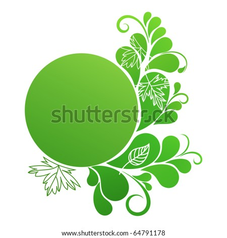 Round banner in green colors with natural ornament