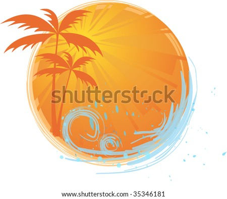 round banner with palms and