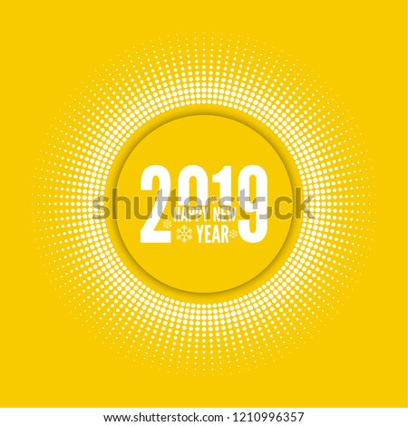Round banner with rays. happy new year 2019.