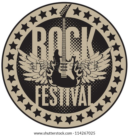 round banner with the guitar for a rock festival