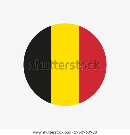 Round belgian flag vector icon isolated on white background. The flag of Belgium in a circle. Foto stock ©