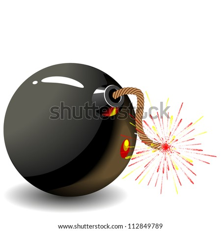 Round black bomb with a burning fuse wire.