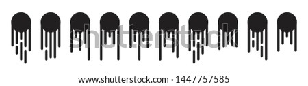Round black current paint drips or circle stains collection isolated. Liquid dripping circles or melted ice cream drip silhouettes vector illustration