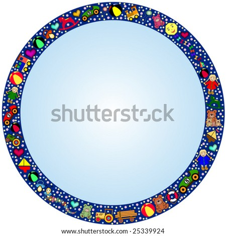 round blue gradient frame with a colorful border out of many toys. Designed for content to be added