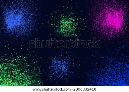 Round blue, green, pink neon colors explosin splash splatter elements isolated on black. Artistic circles spray paint grunge abstract background set, vector illustration fot your design Stock fotó ©
