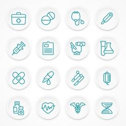 Round blue medical icons on white, medicine symbols in circle, medical vector illustration