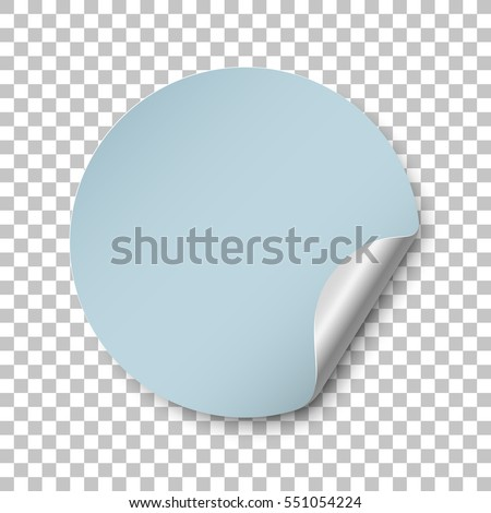 Round blue paper sticker template with bent edge. Isolated on transparent background. Vector illustration, eps 10.