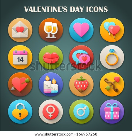 Round Bright Icons with Long Shadow Valentine's Day