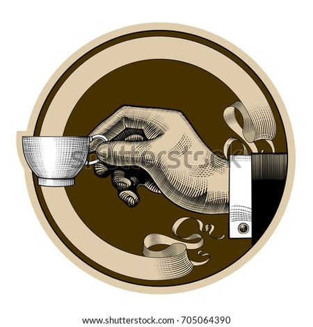 Round brown retro coffee and tea label with ribbon and man's hand holding a white cup. Vintage stylized drawing. Vector illustration