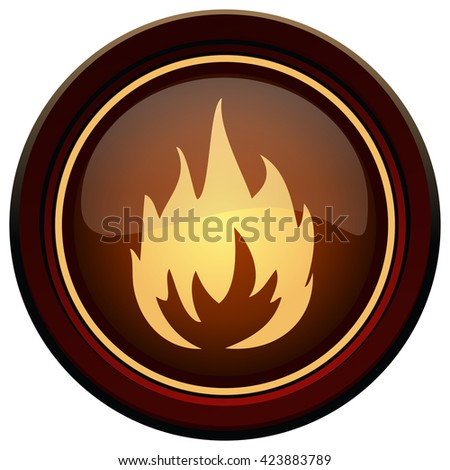 Round Burning Fire Sign Symbol, Vector Illustration isolated on White Background.