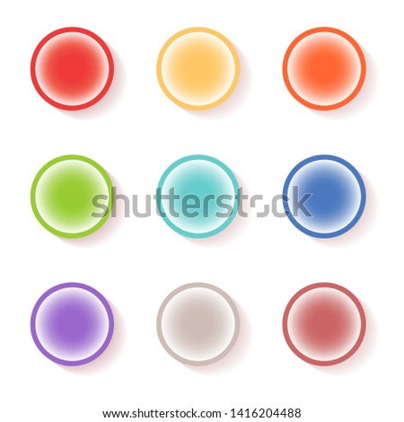 Round button design set. Vector icon set