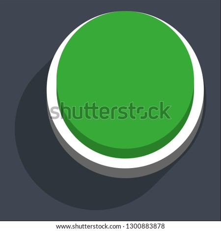 Round button isometric icon. Green shape with drop shadow on gray background is created in trendy 3D flat style. Inactive variant.The graphic element for design saved as a vector illustration.
