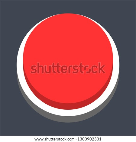 Round button isometric icon. Red shape on gray background is created in trendy 3D flat style. Inactive variant.The graphic element for design saved as a vector illustration.
