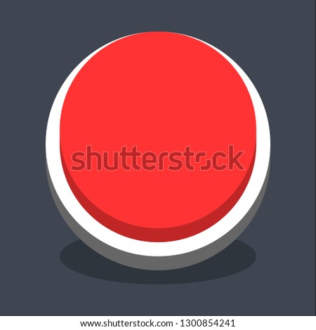 Round button isometric icon. Red shape with drop shadow on gray background is created in trendy 3D flat style. Inactive variant.The graphic element for design saved as a vector illustration.