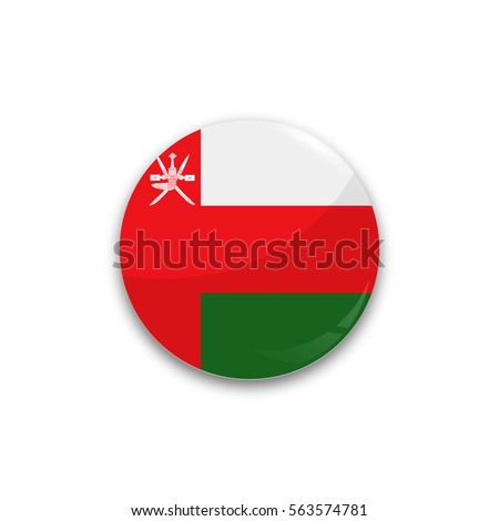 Round button national flag of Oman with the reflection of light and shadow realistic. Icon country.
