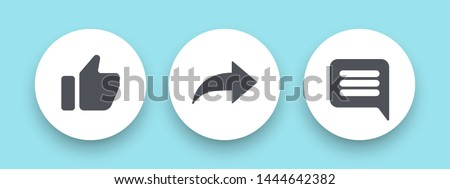 Round buttons hand like, arrow share, message, comment. Social media template icons. Vector illustration. EPS 10