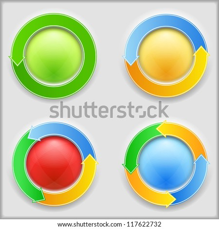 Round buttons with arrows, vector eps10 illustration