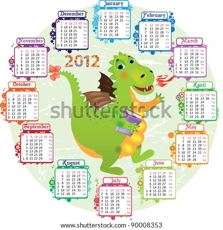 Round calendar for 2012 and a dragon in the middle - stock vector