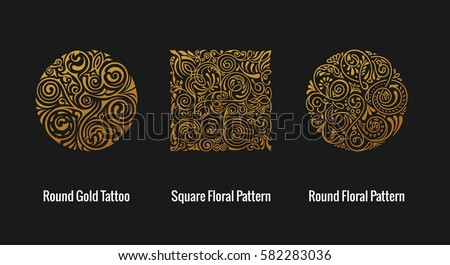 Round calligraphic royal gold emblem set. Vector floral symbol for cafe, restaurant, shop, print, stamp. Logo design template label for coffee, tea, business card. Isolated gothic tattoo ornament