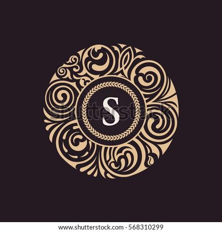 Round Calligraphic Royal Gold Emblem Vector Floral Baroque Monogram Symbol Cafe Restaurant